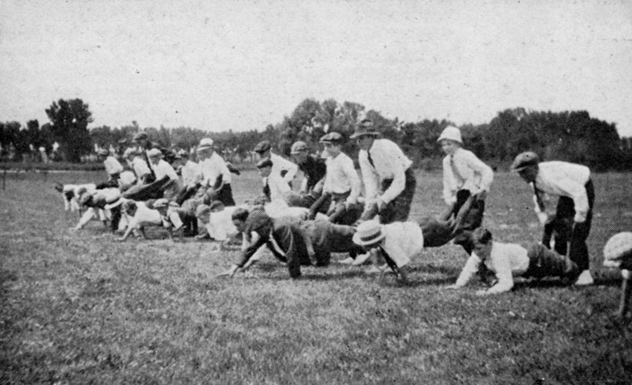 Boys' wheelbarrow race at the annual picnic and independence day celebration of Minnequa Steel Works.