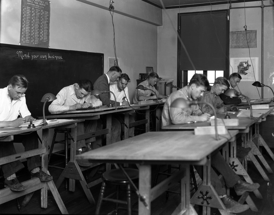 8x10 nitrate negative Date: 1929 Box 2.2.2. Folder 9A Negative Condition:Good Numbered Pla0264 Apprentices working at tables